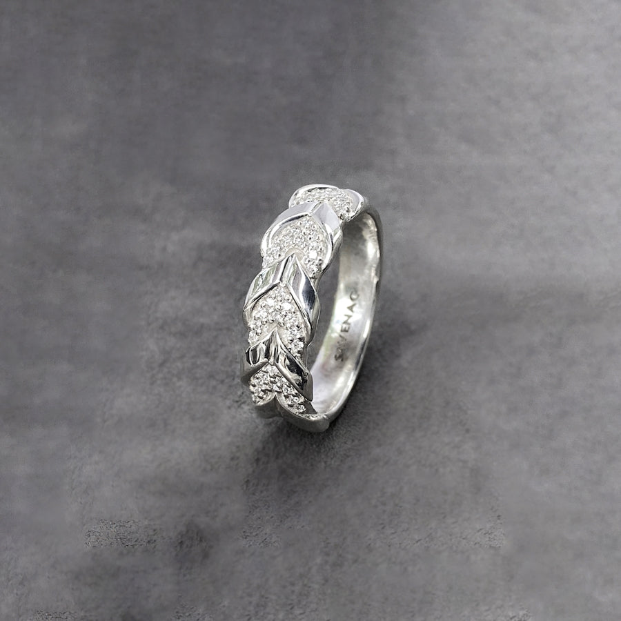 Diamond Lace Rein Ring - Sterling Silver
