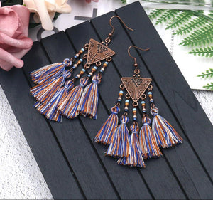 Triangle Rice Beads Tassel Earrings