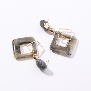 Acrylic Square Oval Earrings
