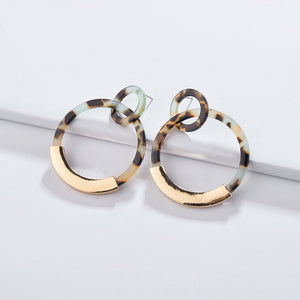 Alloy Acrylic Sheet Geometry Circle Earrings