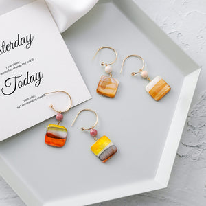 Geometric Colored Striped Square Earrings