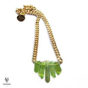 Green Rocked Up Mini Crystal Quartz Necklace