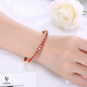 Orange Princess Swarovski Elements Bangle in 14K Gold