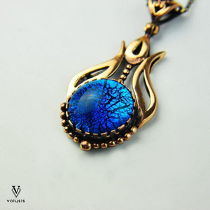 Blue Tulip Fused Glass Bronze Necklace