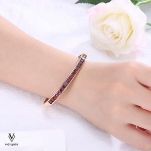 Burgandy Princess Cut Swarovski Elements Bangle in 14K Gold