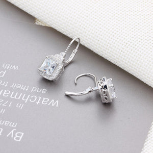 Cubic Zirconia Square Geometric Drop Earrings