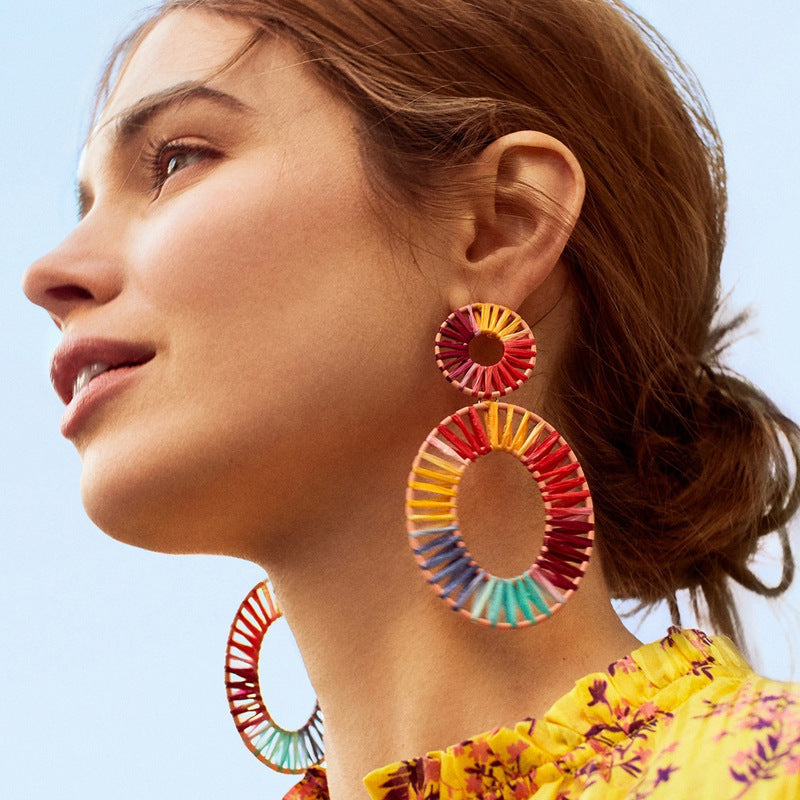 Big Oval Rainbow Straw Earrings