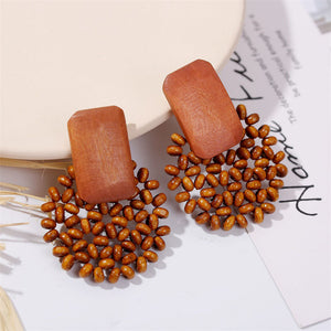 Woven Wood Vintage Earrings