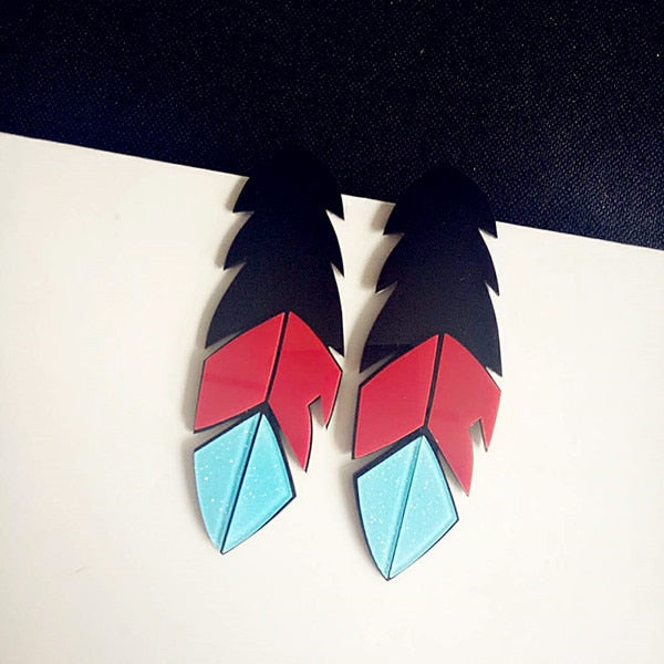 Big Acrylic Feather Earrings
