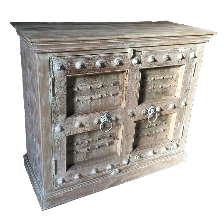 3' Small Carved Wood Cabinet Pale Wash