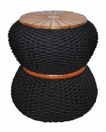 Bari Rope Side Table Top Wood
