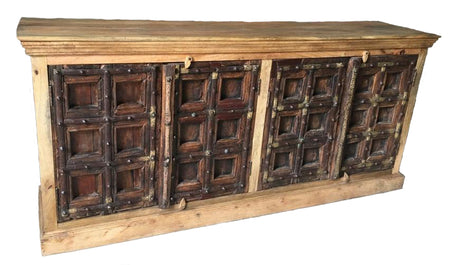 Cabinet Wood with (4) Carved Doors