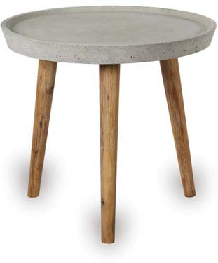 Round Concrete Table with Wood Legs