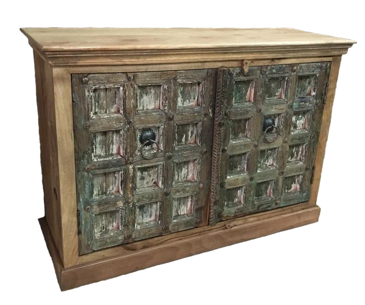 Wood Cabinet with (2) Green Doors
