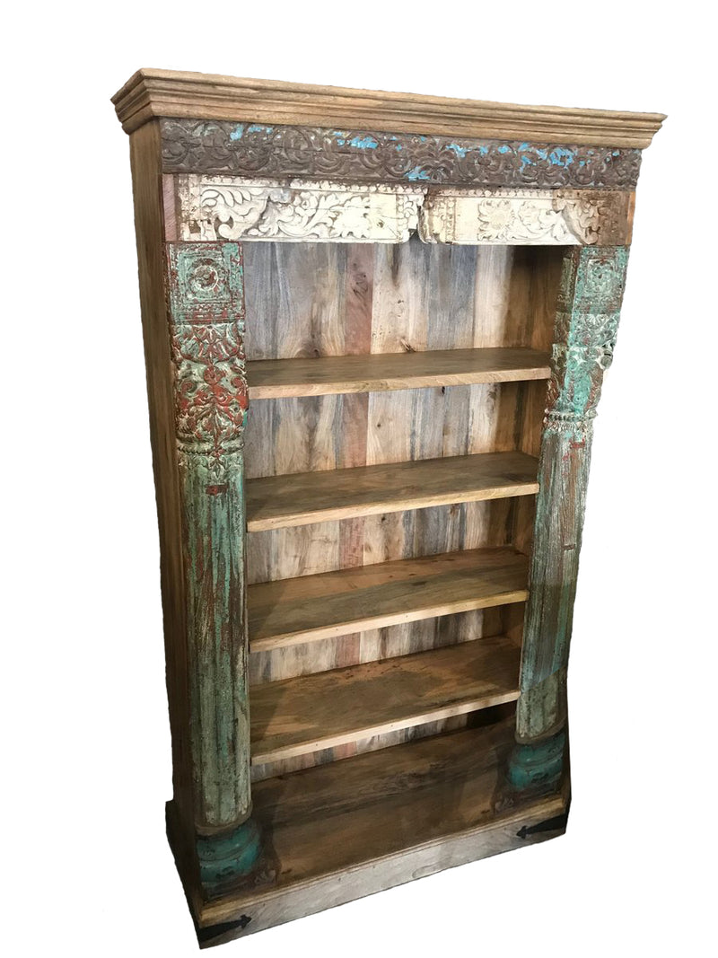 Wooden Bookcase with Carving and Five Shelves