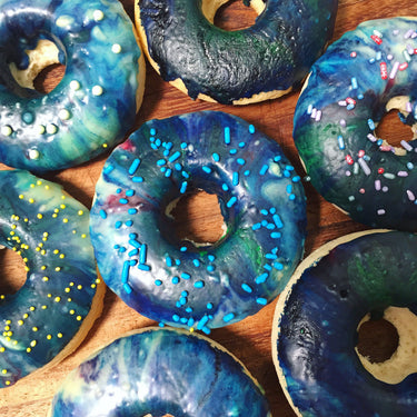 Baked Doughnuts with Galaxy Icing (yeast free)