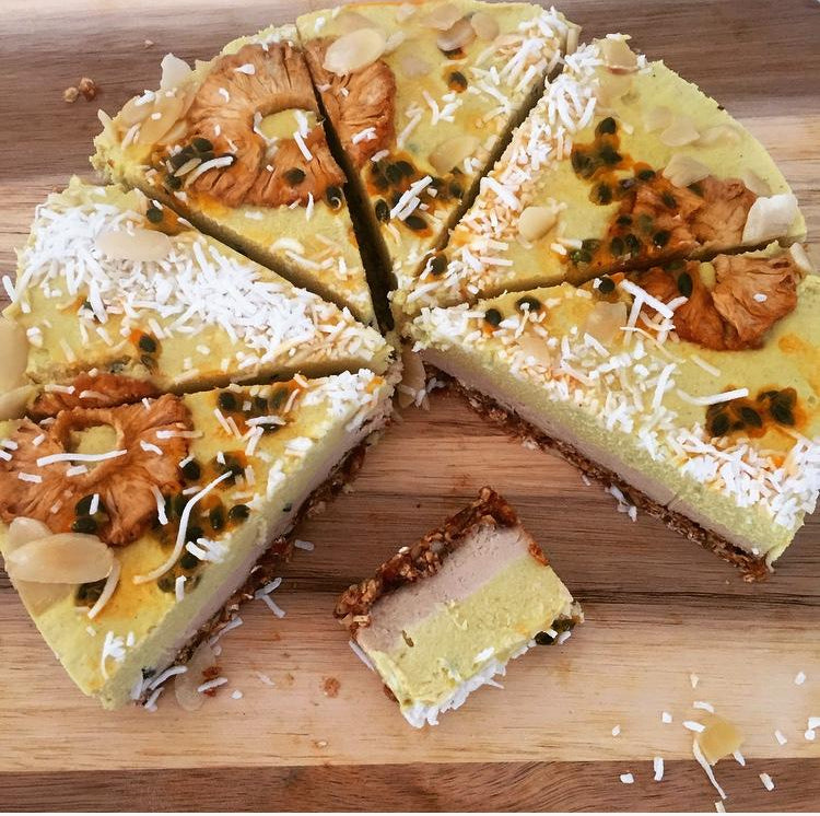 No Bake Pineapple and Passion Fruit Cake