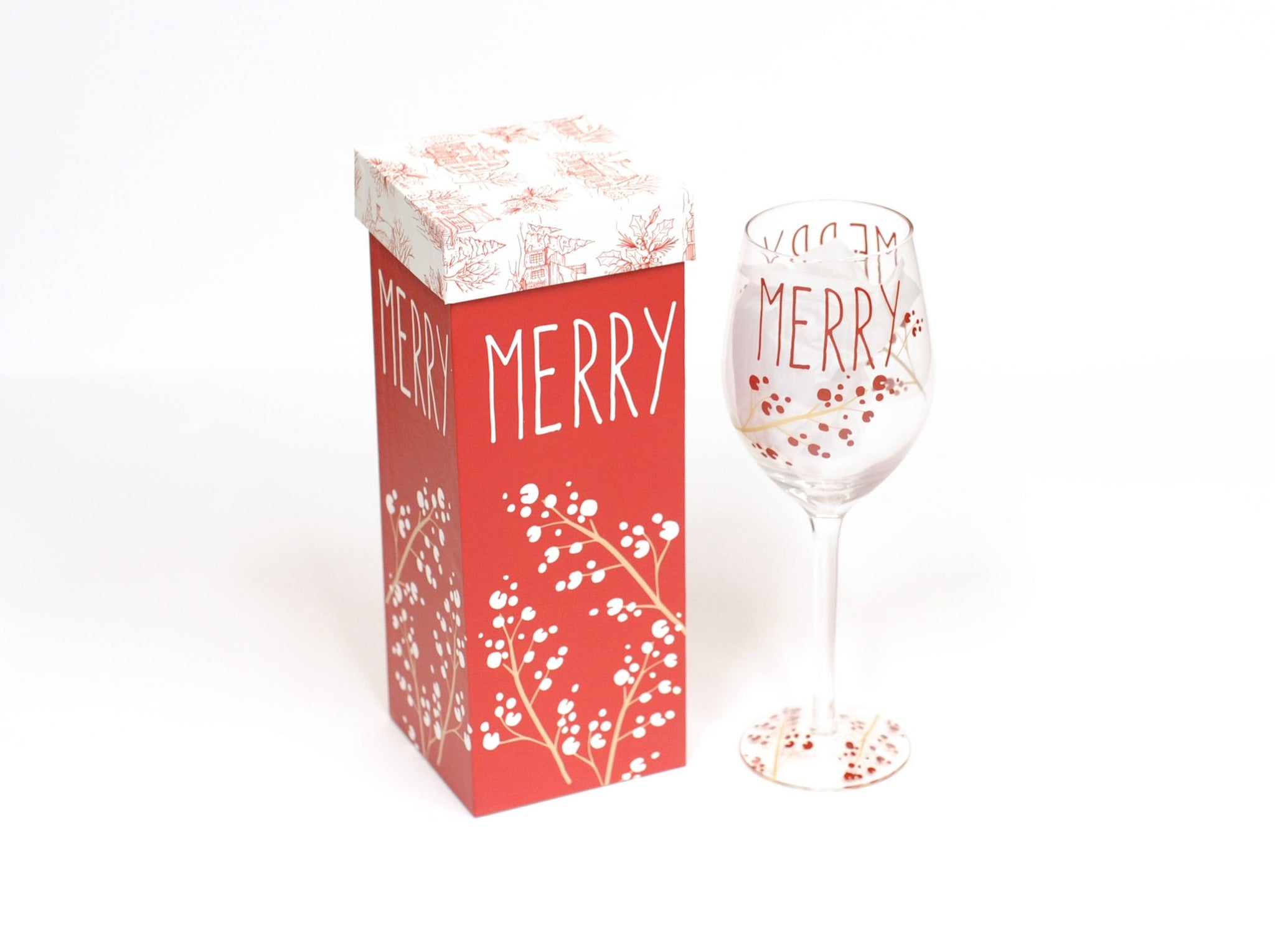 Merry Wine Glass