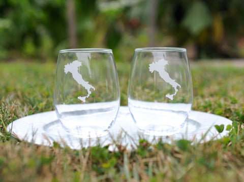 Italy Etched Stemless Wine Glass
