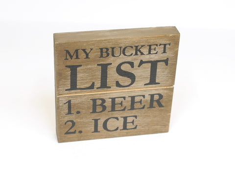 Bucket List Wooden Sign