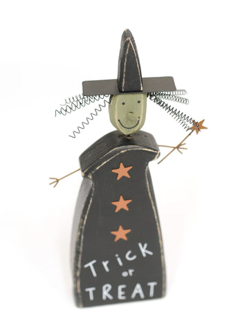 Trick or Treat Wooden Witch