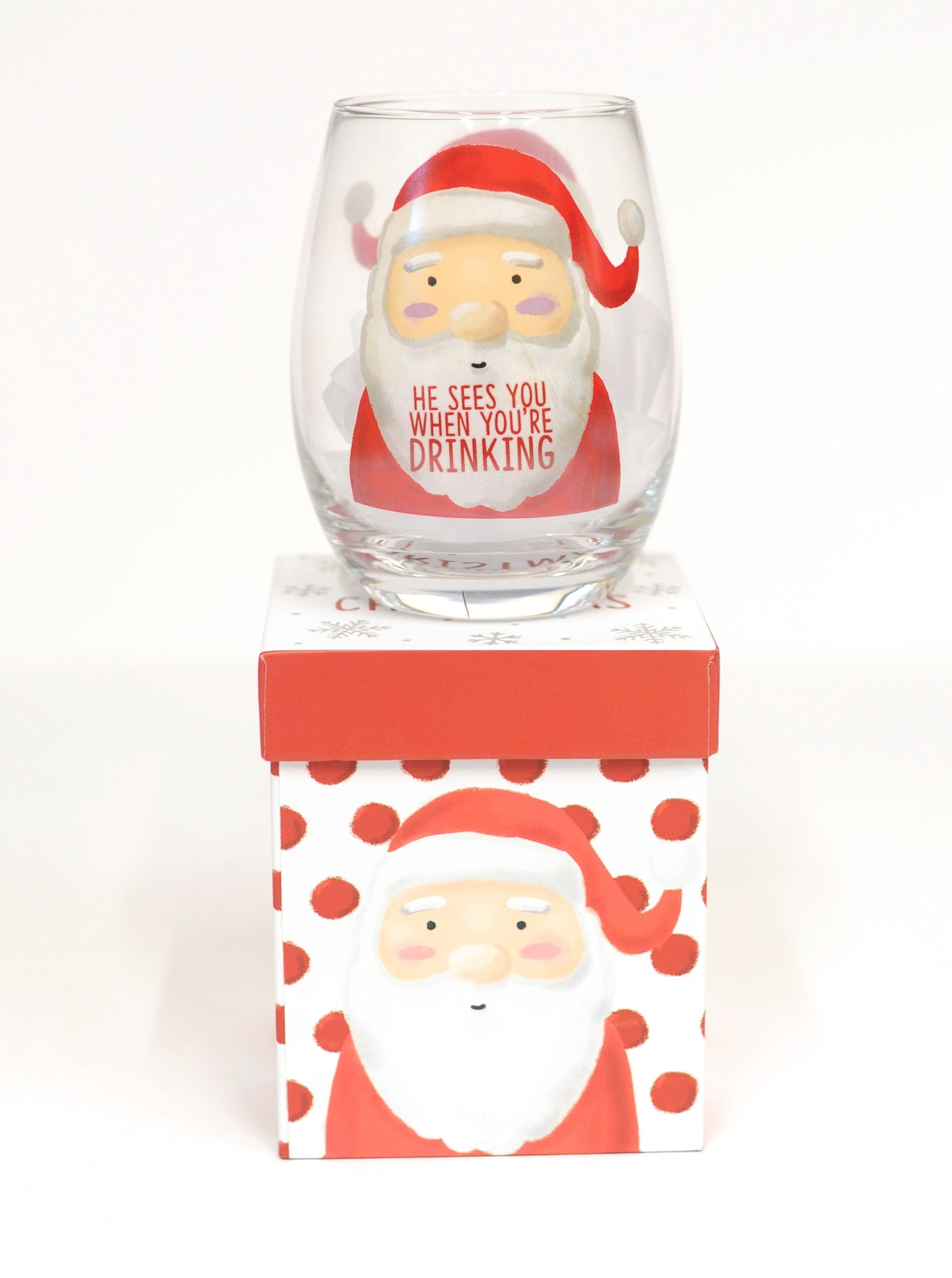 Santa Stemless Wine Glass