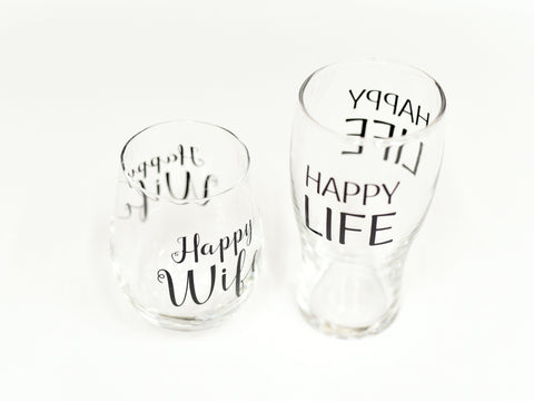 Happy Wife, Happy Life Glass Set