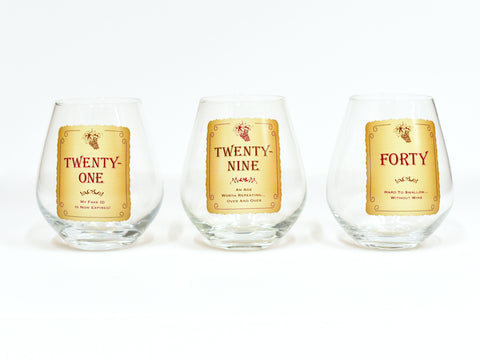 Vintage Age Stemless Wine Glasses