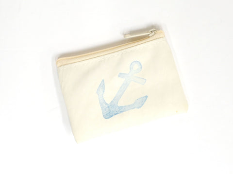 Navy Anchor Change Purse
