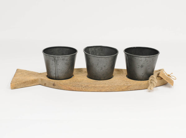 3-Cup Wooden Fish