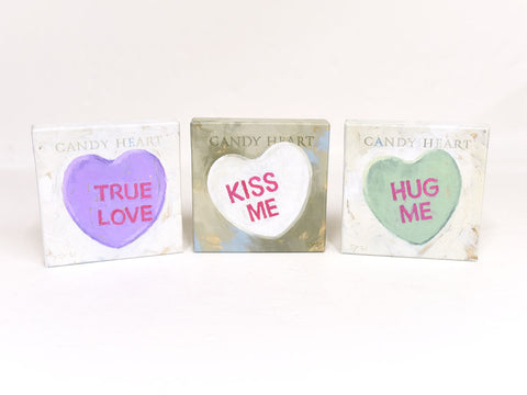 Candy Hearts Canvas Signs