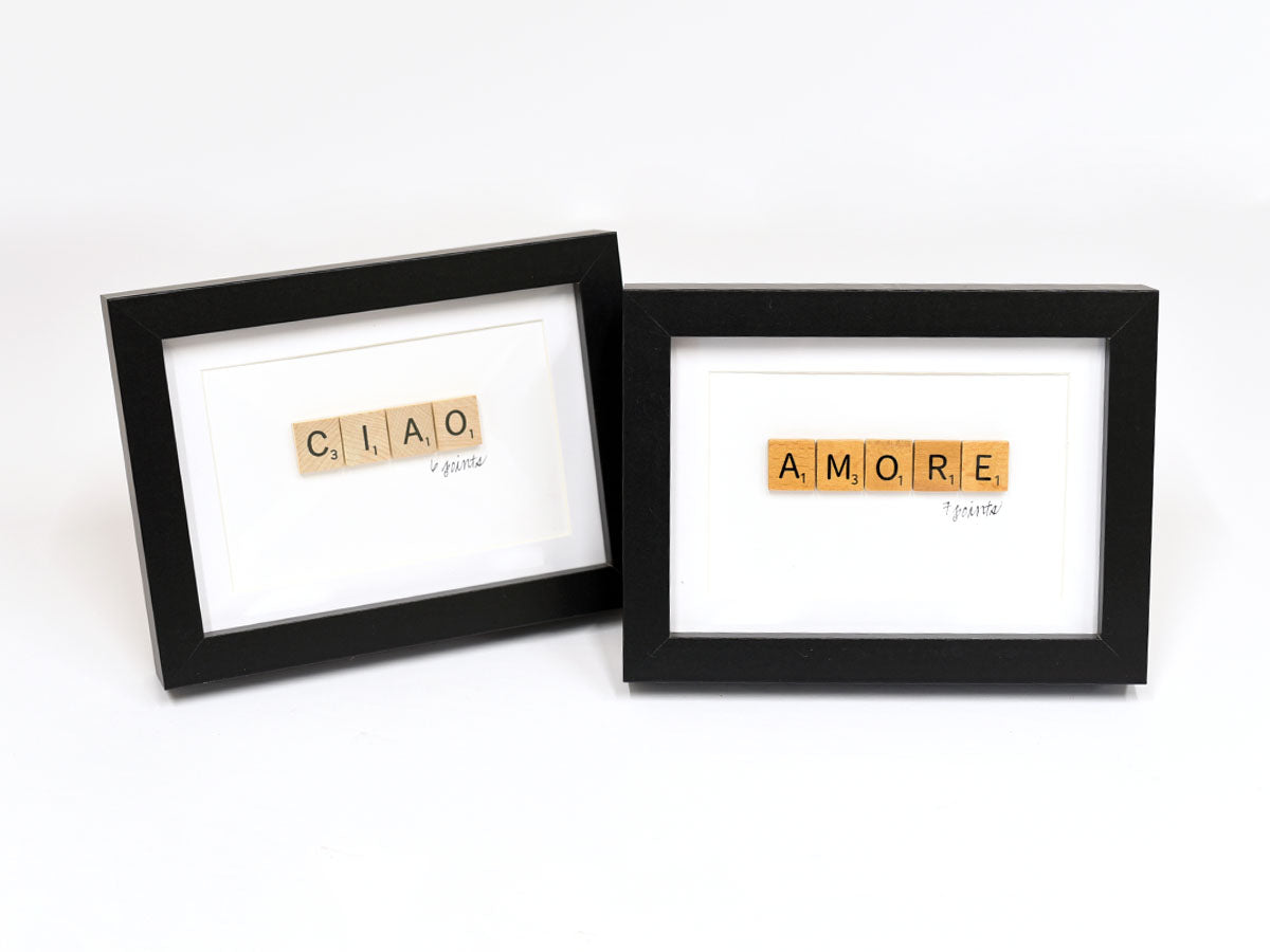 Ciao and Amore Scrabble Signs