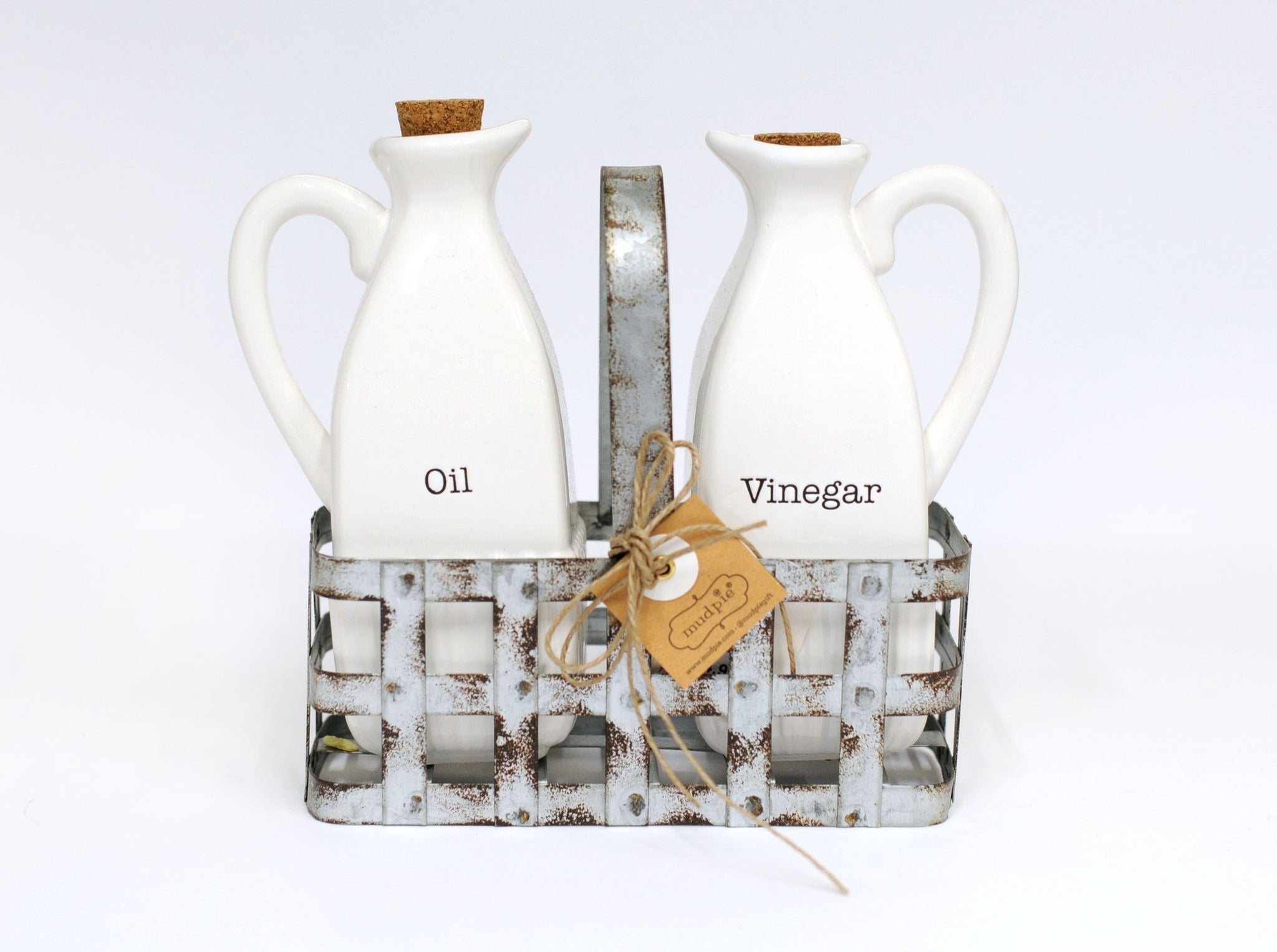 Oil and Vinegar Bottles with Metal Caddy