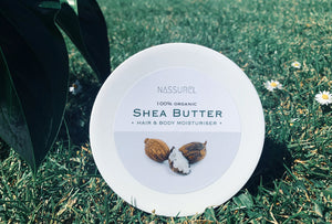 Open image in slideshow, Nassurel's 100% organic and hydrating Raw Unrefined Shea Butter for hair and body.