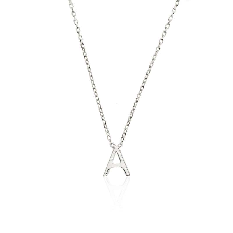 Solid White Gold Miniature Initial Letter Necklace