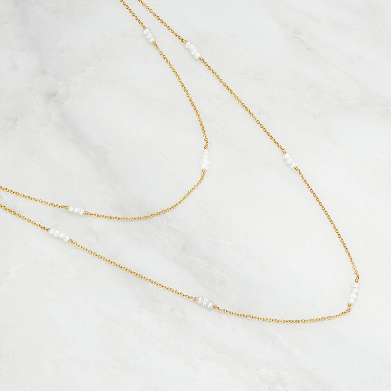 Silver Layered Mini Pearl Necklace