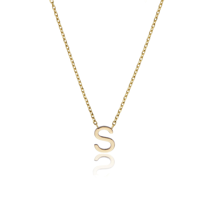Solid Gold Miniature Initial Letter Necklace