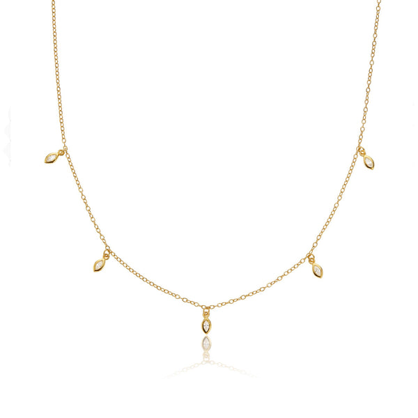 Gold Diamond Style Marquise Drop Necklace