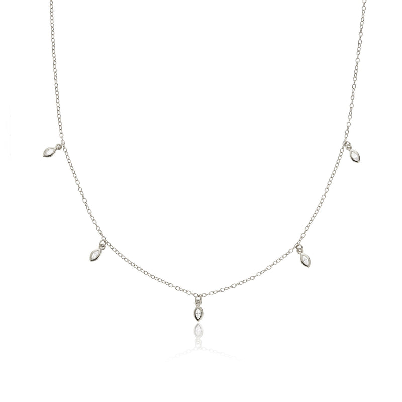 Silver Diamond Style Marquise Drop Necklace