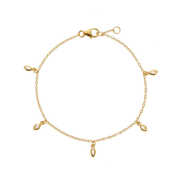 Gold Diamond Style Marquise Drop Bracelet