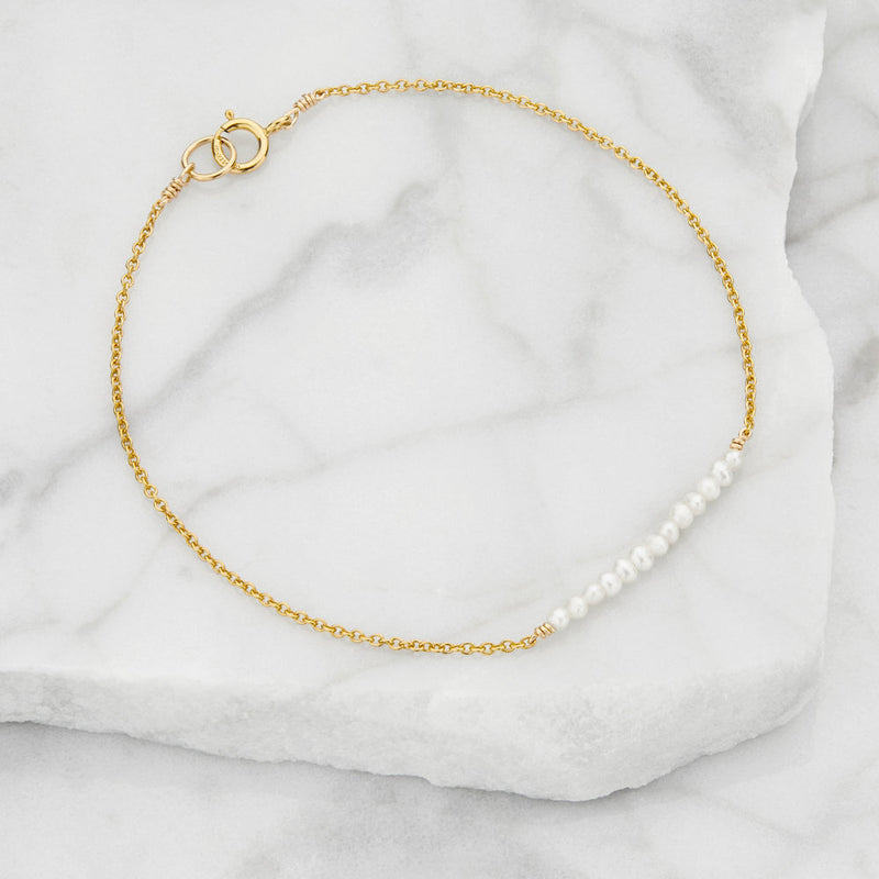 Gold Small Pearl Cluster Bracelet