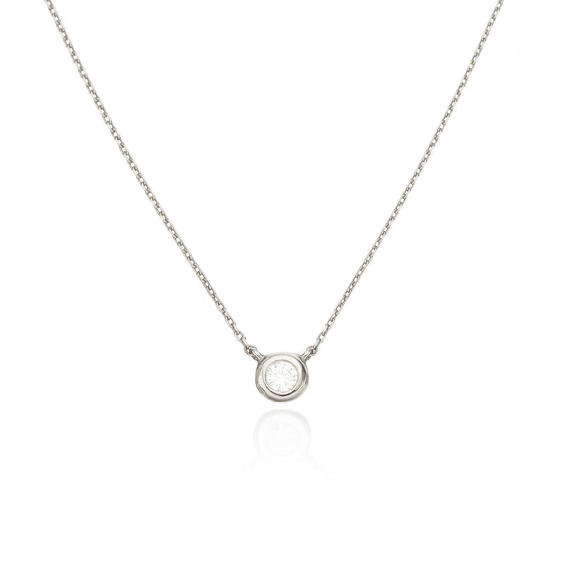 Solid White Gold Floating Diamond Necklace