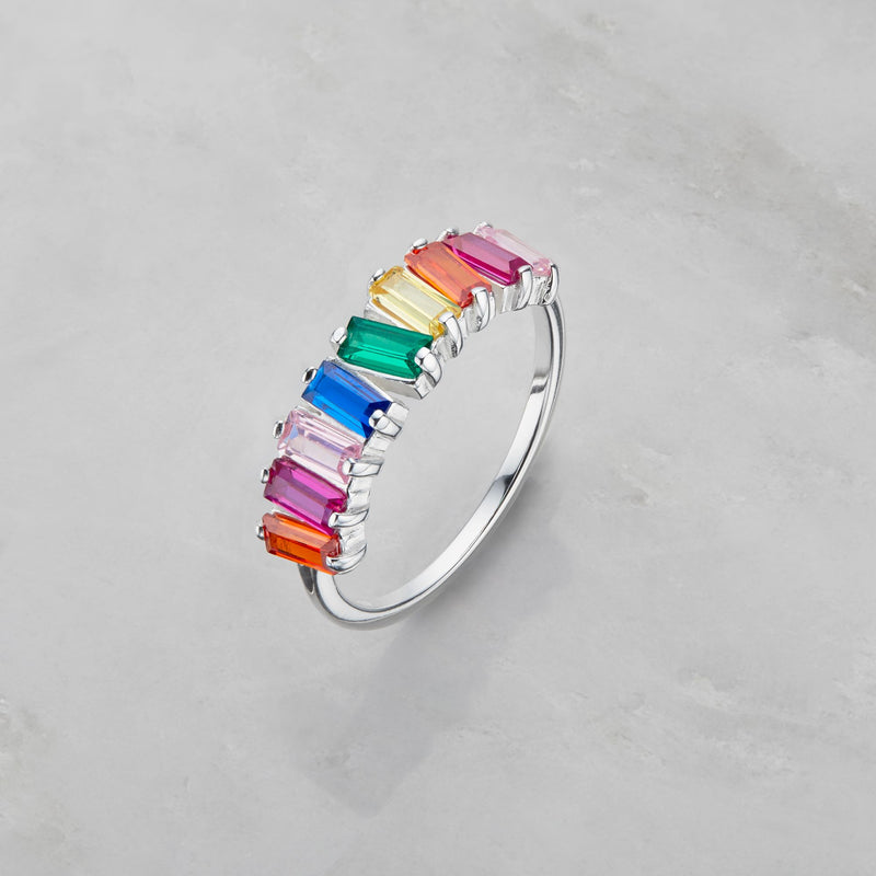 Silver Rainbow Gemstone Cluster Ring