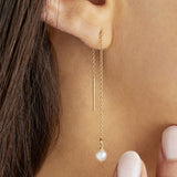 Silver Pearl Drop Ear Threaders