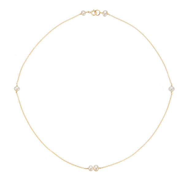 Gold Six Pearl Choker Necklace