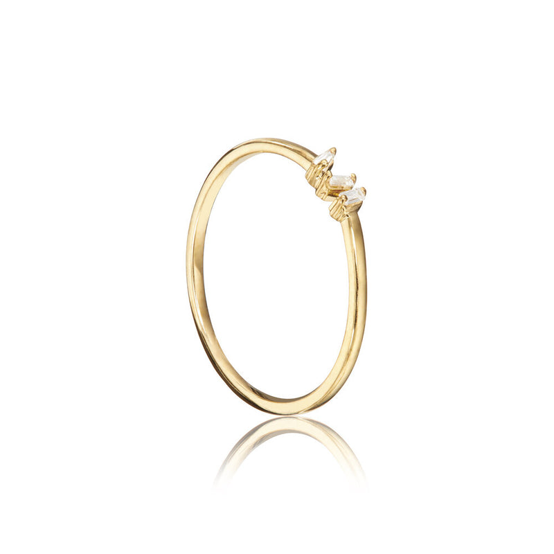 Gold Diamond Style Three Baguette Ring