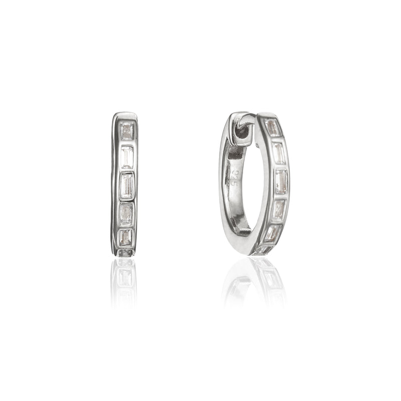 Silver Diamond Style Baguette Medium Hoop Earrings