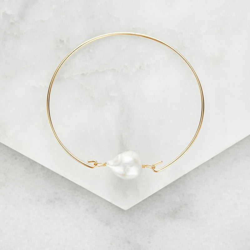 Gold Baroque Pearl Bangle