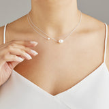 Silver Layered Large and Small Pearl Choker