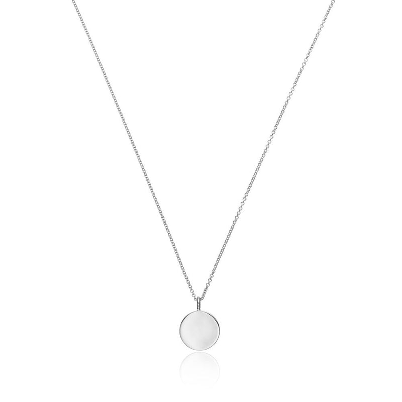 Silver Small Diamond Style Disc Necklace